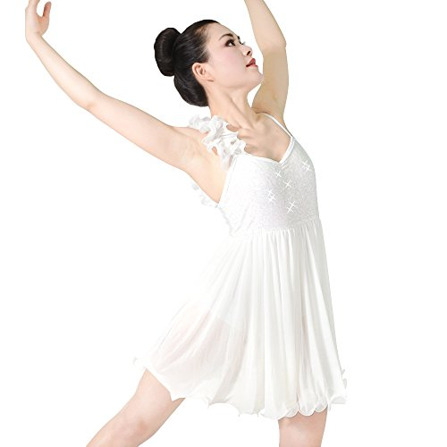 MiDee Lyrical Dress Dance Costume Camisole One Shoulder Ruffle Sequined Cruly Skirt (SA, Ivory)