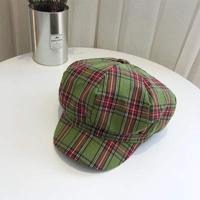 Huasen England Plaid Newspaperboy Hat Retro Painter Hat -
