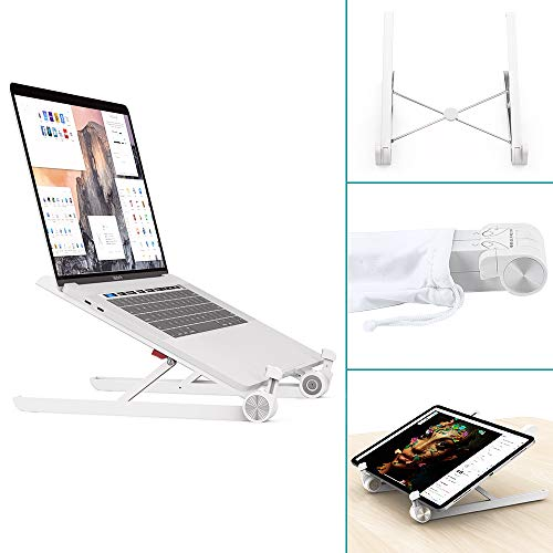 - Universal Laptop Stand, Adjustable Ergo Compact Portable Stand Holder for Notebook Computer, Klearlook Office Table Desk Home Travel Use Foldable Ventilated Bracket for Dell HP Acer Lenovo Macbook