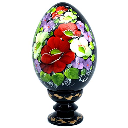 UA Creations Hand Painted Pysanka Lacquer Wooden Egg on Holder, Large Fancy Petrykivka Ethnic Style Easter Souvenir from Ukraine in a Gift Box, Jumbo Size (Black Red and White)