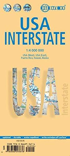 EE.UU. Interestatal/Interstate plano de carreteras plastificado. Escala 1:4.000.000. Borch.