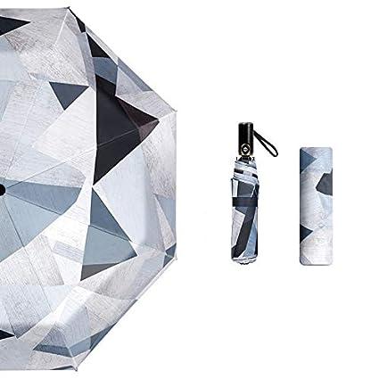 Paraguas plegable automatico Mujer niño Hombre an- Sombrilla Grande con Tres Pliegues: sombrilla pequeña