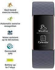 جهاز فيت بت تشارج 3، جهاز تتبع متقدم للياقة البدنية، مع قياس معدل ضربات القلب، تتبع السباحة وبطارية لمدة 7 ايام، ذهبي وردي/ازرق رمادي