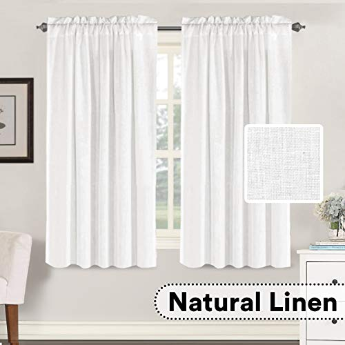 H.VERSAILTEX White Window Curtain Linen Textured Panels for Small Windows/Kitchen/Living Room/Bedroom, Rod Pocket, Natural & Durable (52 x 63 inches Long, Set of 2)