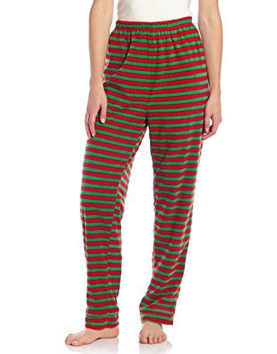 Women Fleece Sleep Pants Red & Green striped Medium