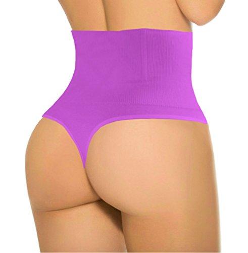 ShaperQueen 102B Thong - Women Waist Cincher Girdle Tummy Slimmer Sexy Thong Panty Shapewear (XS, Purple)