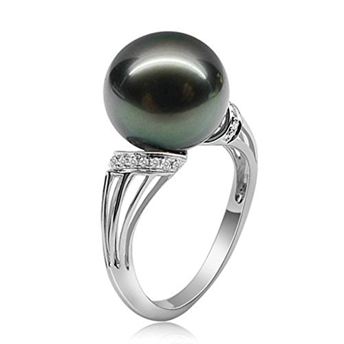 Gnzoe Jewelry, 10MM Women Wedding Ring Natrual Pearl Cubic Zirconia, Customized Ring by Gnzoe