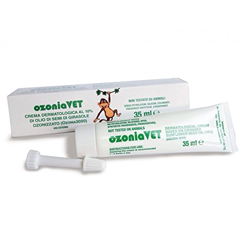 OZONIA VET Ozonated Dermatological Veterinary Cream for dogs, cats or other pets - natural anti-bacterial & anti-viral, promotes healing of wounds, sores, cuts, cutaneous ulcers