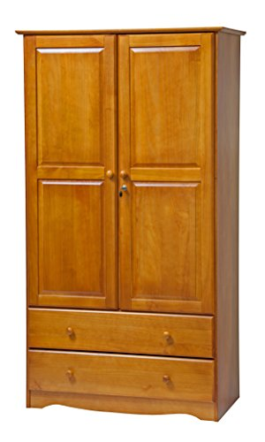 Palace Imports 5924 Smart Solid Wood Wardrobe/Armoire/Closet in Honey Pine Solid Pine Wardrobes