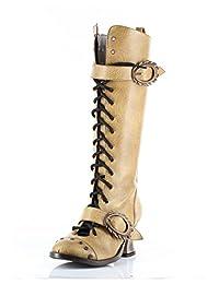 HADES Steampunk Womens Heels Knee High Retro Boot VINTAGE Mustard-9