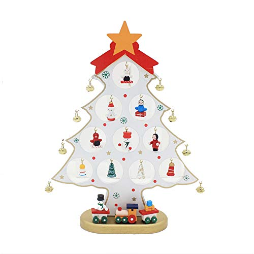 (Amaping Christmas Tree Decoration Table Miniature Pendant Bell Santa Claus Snowman Pattern Home Desk Display Ornament)