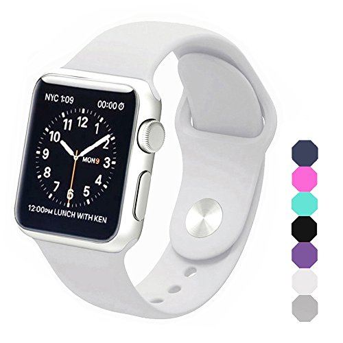 Sxciw Apple Watch Band, Soft Silicone Sports Replacement Wristband for Apple Watch (White, 38mm-S/M)