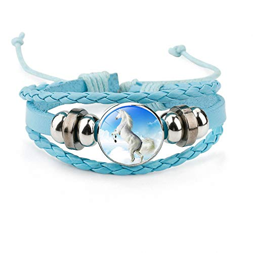 Womens Horses Photo Handmade Glass Cabochon Braided Leather Charm Bracelets Bead Weave Punk Rock Male Bangle Gift Blue