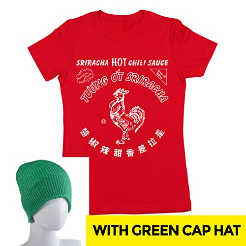 Sriracha Hot Chili Sauce Bottle Costume Outfit With Hat Womens Shirt Medium Red -