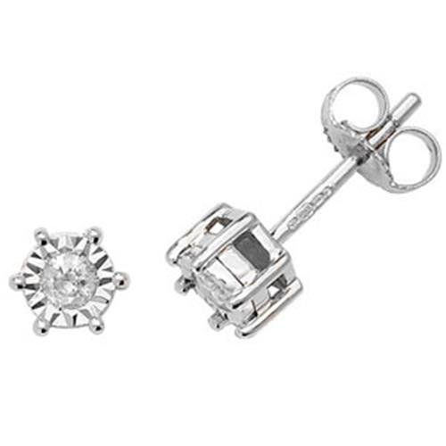 Diamant Boucles d'oreilles clous Illusion Plaque Or Blanc 9 Carats H I2 2D 0,15 ct