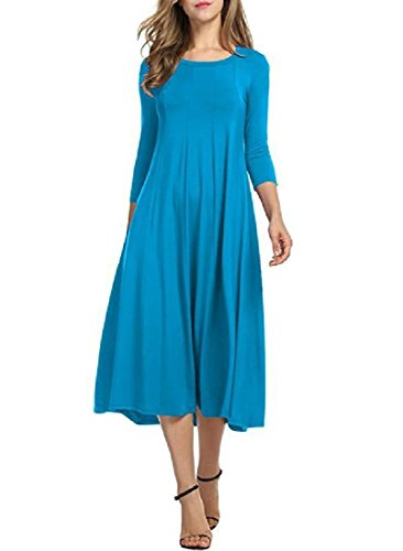 Dress Blue Coolred Sleeve Empire Neck Fashion Women 3 Crew Sky 4 Waist Swing vWqHv7fYwg