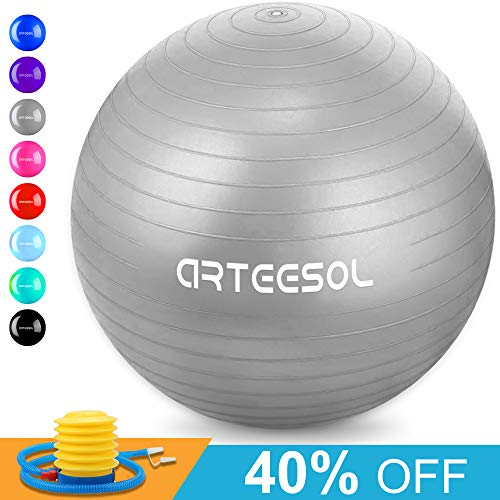 Exercise Therapy Ball - arteesol Exercise Yoga Ball, Extra Thick Stability Ball Chair, Professional Grade Anti Burst&Slip Resistant Balance, Fitness Physical Therapy, Birthing Ball with Air Pump (Silver, 65CM)