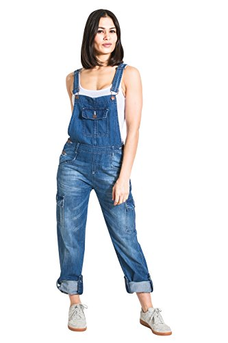 3f460d7e6b5b1a USKEES Womens Denim Dungarees - Faded Blue Relaxed fit Roll-up leg  Bib-overalls