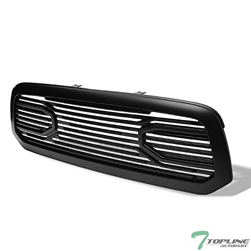 Topline Autopart Matte Black Big Horn Style Front Hood Bumper Grill Grille ABS with Shell For 13-18 Dodge Ram 1500/2019 Ram 1500 Classic