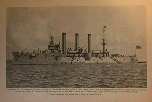 Armored Cruiser - 1898 Vintage Magazine Illustration Armored Cruiser Brooklyn Spanish American War