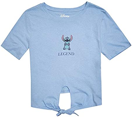 Disney Ladies Lilo and Stitch Shirt Ladies Classic Lilo and Stitch Fashion Tee Lilo and Stitch Tie Front Short Sleeve Tee