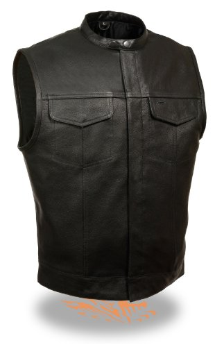 Men's SOA Snap Collar Leather Vest w/ Inside Gun & Drop Pockets Perfect for Club Colors & Patches (Large)