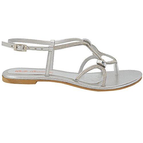 ESSEX GLAM Damen Flache Riemchen Sandalette Strasssteine Zehentrenner Slingback Sandalen Weiß