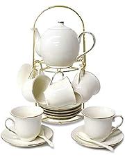 RUXINGGU Kaffeset te, teservis eftermiddagste stycke keramiskt kaffe set eftermiddagste kaffe te kaffe set, 700 ml/kruka, 160 ml/kopp.