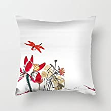 """Heavyxias 18""""x18"""" Lotus Dragonfly Ink Decorative Throw Pillow Case Cushion Cover"""