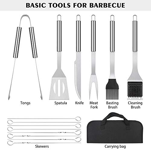 meicent Grill Accessories BBQ Tool Set, 14 PCS Stainless Steel Grilling Utensils Set with Knife, Fork, Brush, Spatula,Tong,Skewers,Barbecue Kits for Camping, Grilling