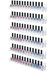 Femeli Acrylic Nail Polish Rack Organizer,Wall Mounted Clear Floating Shelf for Doll Essential Oil Display-6pcs