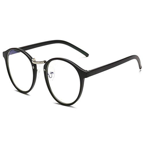 Hombres azul Computadora UV Arena radiación Transparente Hzjundasi Lente Gafas negra Anti Mujer Para Marco Luz Redondo 6zw8nY7xq