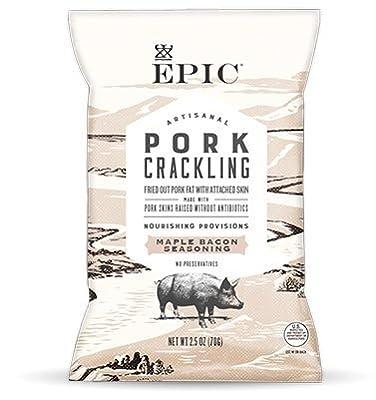 EPIC New Artisanal Pork Rinds Snack 2.5oz (Maple Bacon, 2 Pack)