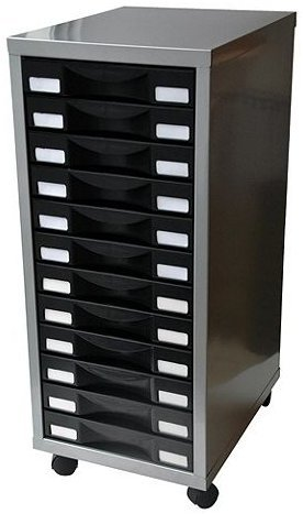 Pierre Henry 12 Multi Drawer Filing Cabinet U2013 Silver With Black Drawers.  Great For Storage