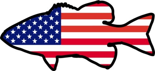 WickedGoodz American Flag Bass Fishing Vinyl Static Cling - Bass Fishing Decoration - Bass Decor - Perfect Angler Gift - Made in The USA