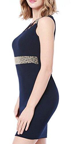 Sleeveless Bodycon Fashion Royal Crew Waist Dress Cromoncent Hollow Womens Neck Out Empire Elegant Short Blue qAW58w4