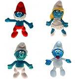 4x Plüsch Schlümpfe, Schlumpfine, Papa Schlumpf, Baby Schlumpf,Schlumpf Figur Stofffigur