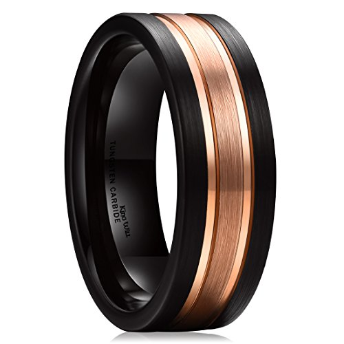 King Will Black and Rose Gold 8mm Tungsten Carbide Wedding Ring Two Tone 8.5 (Wedding Tone Roses)