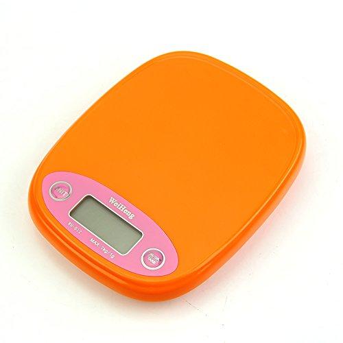 Hunulu Kitchen Scale Digital Backlight 7kg/1g 5kg Food Diet Postal Weight Balance g lb (orange)
