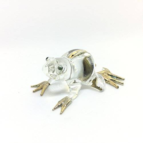 Frog Glass Blown Wild Crystal 22k Gold Home and Decor Handmade 100% collectibles Set Show Doll House Miniature Made In Thailand