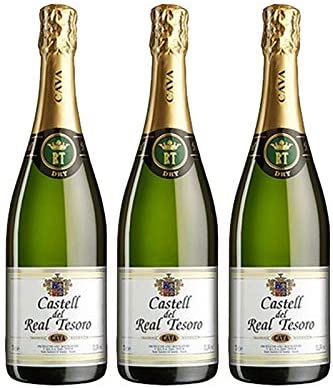 Cava Real Tesoro Dry de 75 cl - D.O. Cava - Bodegas Grupo Estevez (Pack de 3 botellas): Amazon.es: Alimentación y bebidas