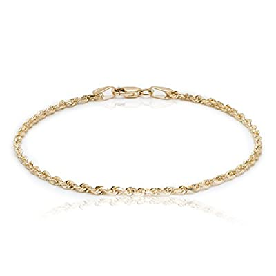"""10k Yellow Gold Solid Diamond Cut Rope Chain Bracelet and Anklet for Men & Women, 2.25mm (0.09"""")"""