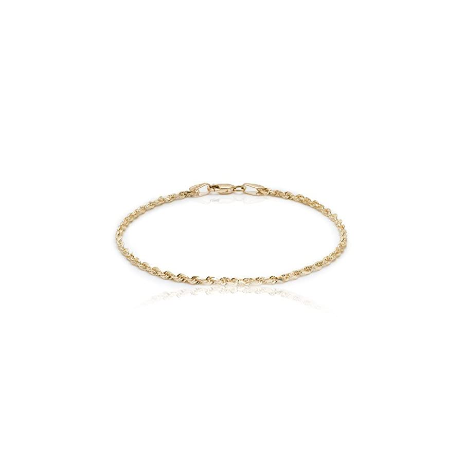 "Floreo 10k Yellow Gold Solid Diamond Cut Rope Chain Bracelet and Anklet for Men & Women, 2.25mm (0.09"")"