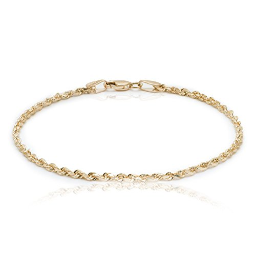 "Floreo 10 Inch 10k Yellow Gold Solid Diamond Cut Rope Chain Bracelet and Anklet for Men & Women, 2.25mm (0.09"")"