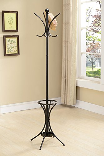 Kings Brand Hat and Coat Rack Stand with Umbrella Holder, Pewter ()