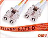 100M OM1 LC LC Plenum Fiber Patch Cable   Duplex 62.5/125 LC to LC Multimode Jumper 100 Meter (328ft)   Length Options: 0.5M-300M   FiberCablesDirect - Made In USA   Alt: ofnp lc-lc mm dx lc/lc mmf