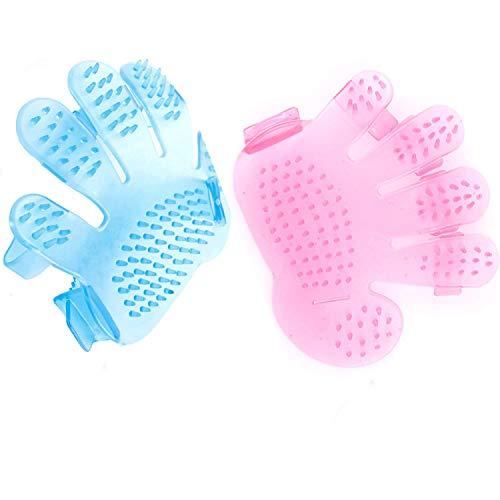 eJiasu Crystal Silicone Hand Palm Shaped Finger Washing Bathing Grooming Massage Brush Glover for Pet Dog or Cat (1pc Pink+1pc Blue) ()