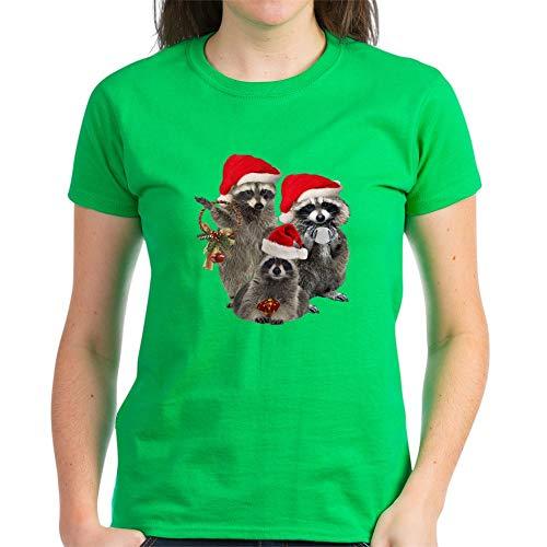 CafePress Raccoon Trio A Winter Day Women's Dark T Shirt Womens Cotton T-Shirt