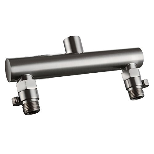 - KES ALL BRASS Shower Head Double Outlet Manifold with Shut Off Valves for Dual Sprayer Showering System, Brushed Nickel, PJ15-2+K1140B-2