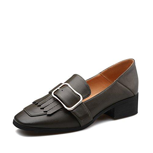 Primavera señoras lado hebilla zapatos/zapatos de tacón grueso de las mujeres de borla/pies de peluca zapatos casual A